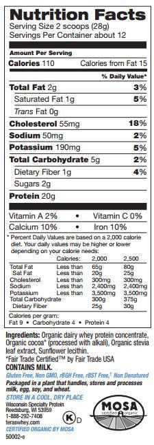 Grass Fed Organic Whey Protein Fair Trade Certified Dark Chocolate